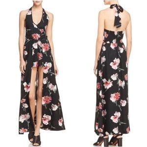 Band of Gypsies black floral maxi halter romper XS